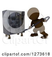 Clipart Of A 3d Brown Man Prying Into A Safe Vault With A Crow Bar Royalty Free Illustration