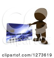 Clipart Of A 3d Brown Man Presenting A Giant Credit Card Royalty Free Illustration