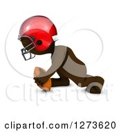 Clipart Of A 3d Brown Man In A Red Helmet Playing Football Royalty Free Illustration