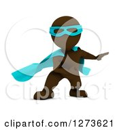Clipart Of A 3d Brown Man Super Hero Ready To Take Off Royalty Free Illustration