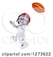 Clipart Of A 3d White Man Football Player Catching Royalty Free Illustration