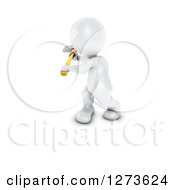 Clipart Of A 3d White Man Working With An Axe Royalty Free Illustration
