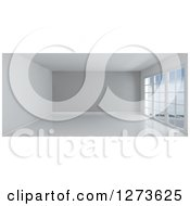 Clipart Of A 3d Empty White Room Interior With A Gray Feature Wall And Floor To Ceiling Windows Royalty Free Illustration by KJ Pargeter