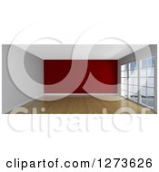 Clipart Of A 3d Empty Room Interior With Floor To Ceiling Windows Wood Floors And A Red Wall Royalty Free Illustration
