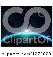 Clipart Of A Background Of A Sun Rising Over A 3d Fictional Planet Royalty Free Illustration