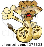 Clipart Of A Happy Rattle Snake Giving A Thumb Up Royalty Free Vector Illustration