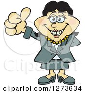 Clipart Of A Happy Asian Business Woman Giving A Thumb Up Royalty Free Vector Illustration by Dennis Holmes Designs