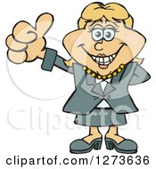 Clipart Of A Happy Blond White Business Woman Giving A Thumb Up Royalty Free Vector Illustration by Dennis Holmes Designs