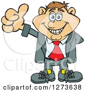 Clipart Of A Happy White Businessman Giving A Thumb Up Royalty Free Vector Illustration by Dennis Holmes Designs