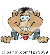 Clipart Of A Happy Black Businessman Peeking Over A Sign Royalty Free Vector Illustration