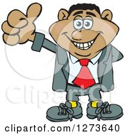 Clipart Of A Happy Black Businessman Giving A Thumb Up Royalty Free Vector Illustration