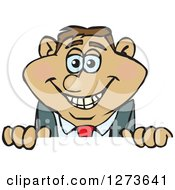 Clipart Of A Happy Hispanic Businessman Peeking Over A Sign Royalty Free Vector Illustration