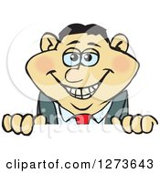 Clipart Of A Happy Asian Businessman Peeking Over A Sign Royalty Free Vector Illustration