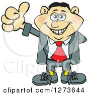Clipart Of A Happy Asian Businessman Giving A Thumb Up Royalty Free Vector Illustration