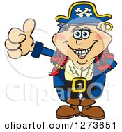 Happy Red Haired Female Pirate Giving A Thumb Up