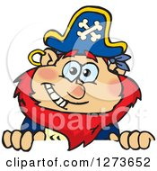 Clipart Of A Happy Red Haired Male Pirate Peeking Over A Sign Royalty Free Vector Illustration
