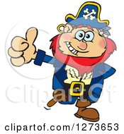 Clipart Of A Happy Red Haired Male Pirate Giving A Thumb Up Royalty Free Vector Illustration by Dennis Holmes Designs
