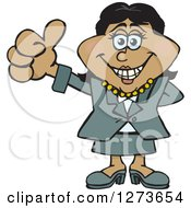 Clipart Of A Happy Black Business Woman Giving A Thumb Up Royalty Free Vector Illustration