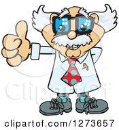 Happy White Male Senior Scientist Professor Giving A Thumb Up