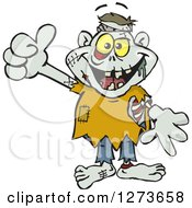 Clipart Of A Happy Zombie Giving A Thumb Up Royalty Free Vector Illustration by Dennis Holmes Designs