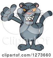Clipart Of A Black Panther Giving A Thumb Up Royalty Free Vector Illustration