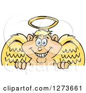 Clipart Of A Happy Blond White Male Angel Peeking Over A Sign Royalty Free Vector Illustration by Dennis Holmes Designs