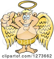 Clipart Of A Happy Blond White Male Angel Giving A Thumb Up Royalty Free Vector Illustration
