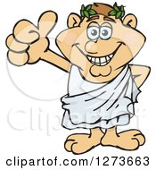 Clipart Of A Happy Greek Man In A Toga Giving A Thumb Up Royalty Free Vector Illustration by Dennis Holmes Designs