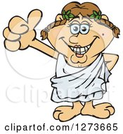 Clipart Of A Happy Greek Woman In A Toga Giving A Thumb Up Royalty Free Vector Illustration by Dennis Holmes Designs