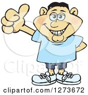 Clipart Of A Happy Asian Man Giving A Thumb Up Royalty Free Vector Illustration