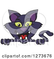 Clipart Of A Black Cat Peeking Over A Sign Royalty Free Vector Illustration by Dennis Holmes Designs