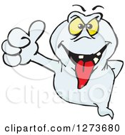 Clipart Of A Ghost Giving A Thumb Up Royalty Free Vector Illustration by Dennis Holmes Designs