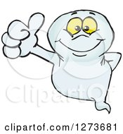 Clipart Of A Happy Ghost Giving A Thumb Up Royalty Free Vector Illustration by Dennis Holmes Designs