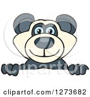 Clipart Of A Happy Blue Eyed Panda Peeking Over A Sign Royalty Free Vector Illustration by Dennis Holmes Designs