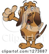 Clipart Of A Happy Blood Hound Dog Giving A Thumb Up Royalty Free Vector Illustration