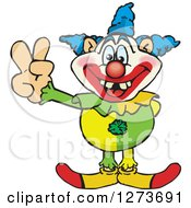Clipart Of A Happy Clown Gesturing Peace Royalty Free Vector Illustration by Dennis Holmes Designs