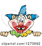 Clipart Of A Happy Clown Peeking Over A Sign Royalty Free Vector Illustration by Dennis Holmes Designs
