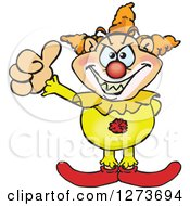 Clipart Of A Creepy Clown Giving A Thumb Up Royalty Free Vector Illustration