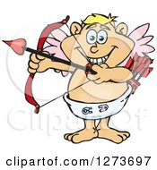Clipart Of A Happy Blond White Male Cupid Aiming An Arrow Royalty Free Vector Illustration by Dennis Holmes Designs