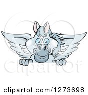 Clipart Of A Happy Gray Pegasus Horse Peeking Over A Sign Royalty Free Vector Illustration