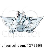 Happy Gray Pegasus Horse Peeking Over A Sign
