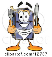 Suitcase Cartoon Character Holding A Knife And Fork