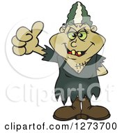 Clipart Of A Happy Bride Of Frankenstein Giving A Thumb Up Royalty Free Vector Illustration