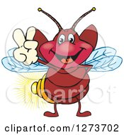 Clipart Of A Happy Firefly Gesturing Peace Royalty Free Vector Illustration by Dennis Holmes Designs