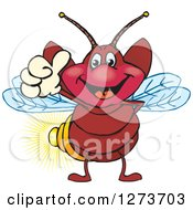 Clipart Of A Happy Firefly Giving A Thumb Up Royalty Free Vector Illustration by Dennis Holmes Designs