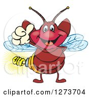 Clipart Of A Happy Firefly With A Light Bulb Butt Giving A Thumb Up Royalty Free Vector Illustration by Dennis Holmes Designs
