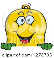 Clipart Of A Happy Bell Peeking Over A Sign Royalty Free Vector Illustration