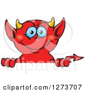 Clipart Of A Happy Blue Eyed Red Devil Peeking Over A Sign Royalty Free Vector Illustration by Dennis Holmes Designs