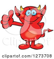 Clipart Of A Happy Blue Eyed Red Devil Giving A Thumb Up Royalty Free Vector Illustration by Dennis Holmes Designs