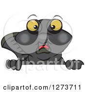 Clipart Of A Black Moor Fish Peeking Over A Sign Royalty Free Vector Illustration by Dennis Holmes Designs